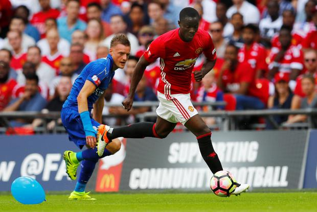 Eric Bailly marshals Jamie Vardy. Photo: Reuters