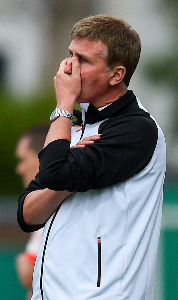 Dundalk manager Stephen Kenny looks on in disbelief at his side's defeat to Bray on Wednesday night. Photo: Sportsfile