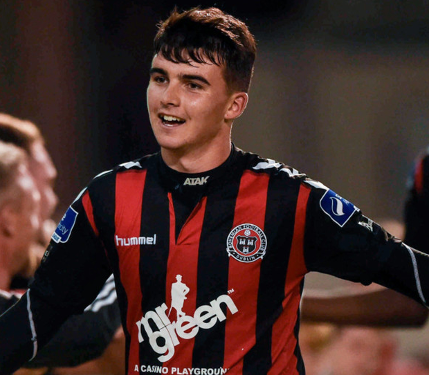 Bohemians' young star Stephen Best celebrates his winning goal against Sligo Rovers last Monday.