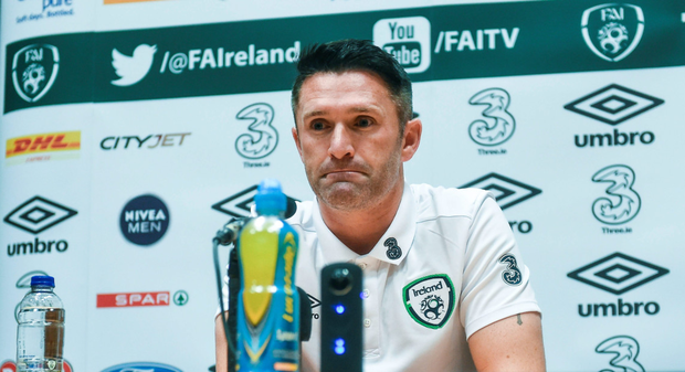 Robbie Keane is pictured during a press conference ahead of tomorrow's friendly against Oman - his final game for Ireland. Photo: Sportsfile