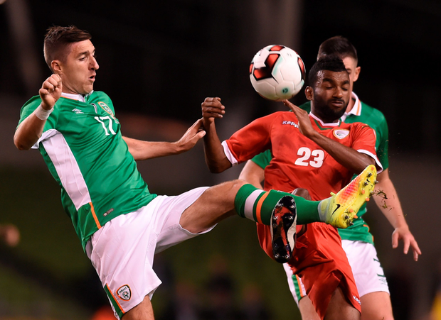 Stephen Ward in action against Harib Jamil Zaid Al Saadi of Oman. Pic: Sportsfile