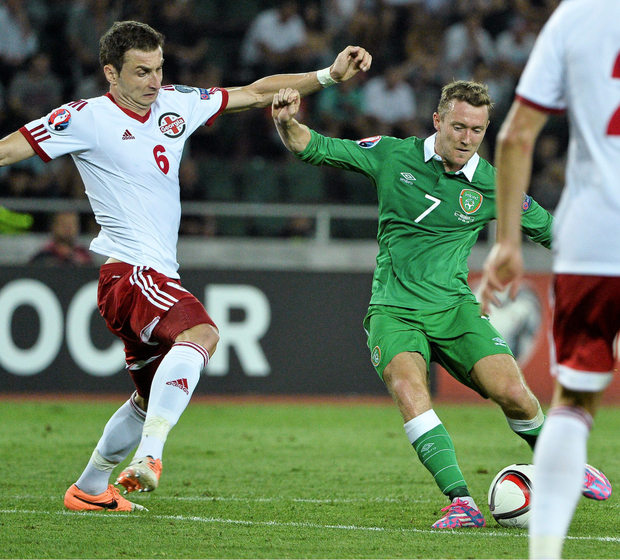 Aiden McGeady shoots to score Ireland's winning goal in the opening Euro 2016 qualifier in Tbilisi in September 2014. Pic: Sportsfile