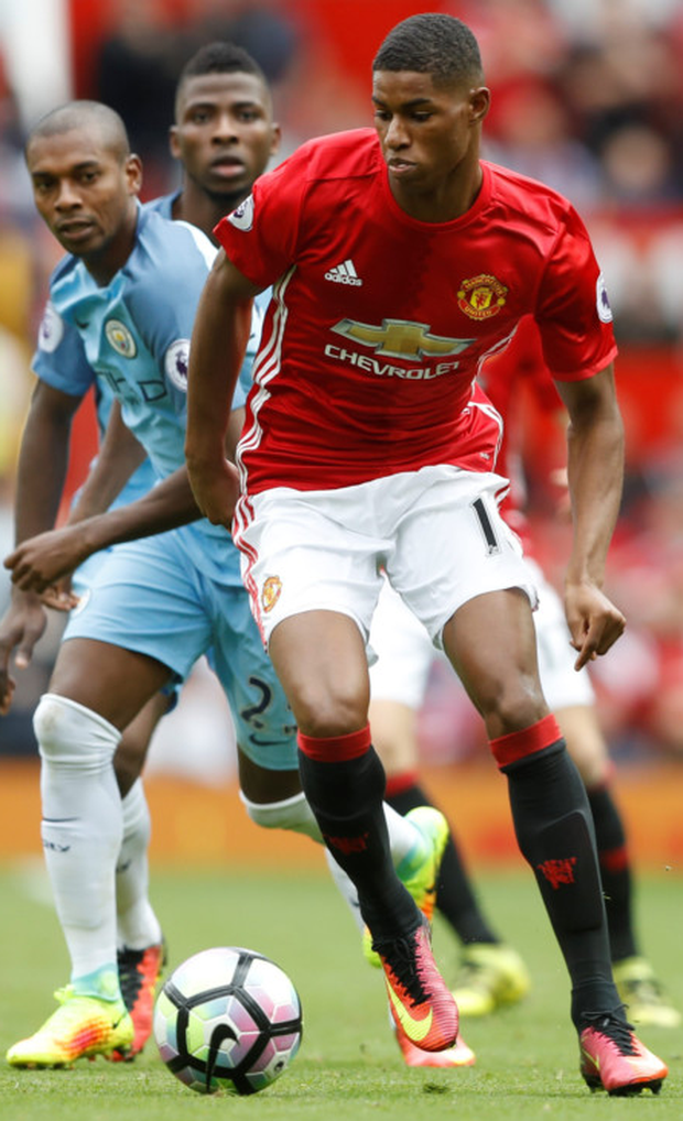 Manchester United striker Marcus Rashford in action against Manchester City's Fernandinho during last Saturday's Premier League clash at Old Trafford