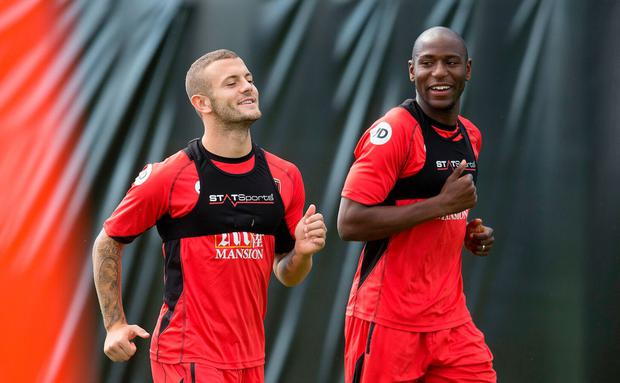 Jack Wilshere going through paces at squad training