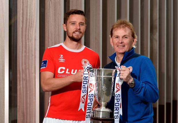 (l-r) St Patrick's Athletic captain Ger O'Brien and manager Liam Buckley aim to defend their EA Sports Cup in this evening's final against Limerick FC at Markets Field. Pic: Sportsfile
