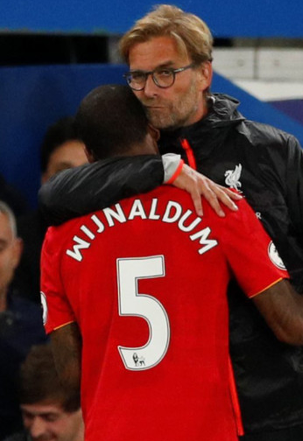 Giorginio Wijnaldum with Liverpool manager Jurgen Klopp Photo: Reuters