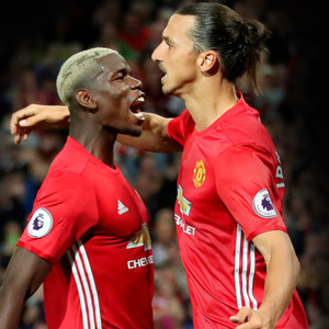 Paul Pogba and Zlatan Ibrahimovic celebrate a United goal