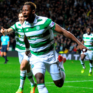 Celtic's Moussa Dembele celebrates his second goal in the thrilling Champions League draw with Manchester City at Celtic Park last night