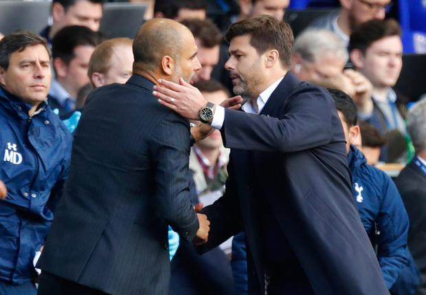 (l-r) Guardiola and Pochettino