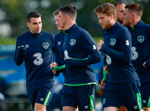 Coleman chats with team-mates at Abbotstown. Pic: Sportsfile