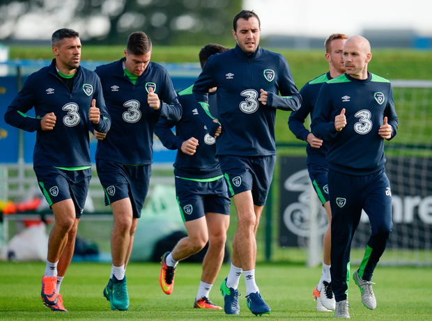 Ireland players (l-r) Jonathon Walters, Stephen Ward and John O'Shea at training in Abbotstown yesterday. Pic: Sportsfile