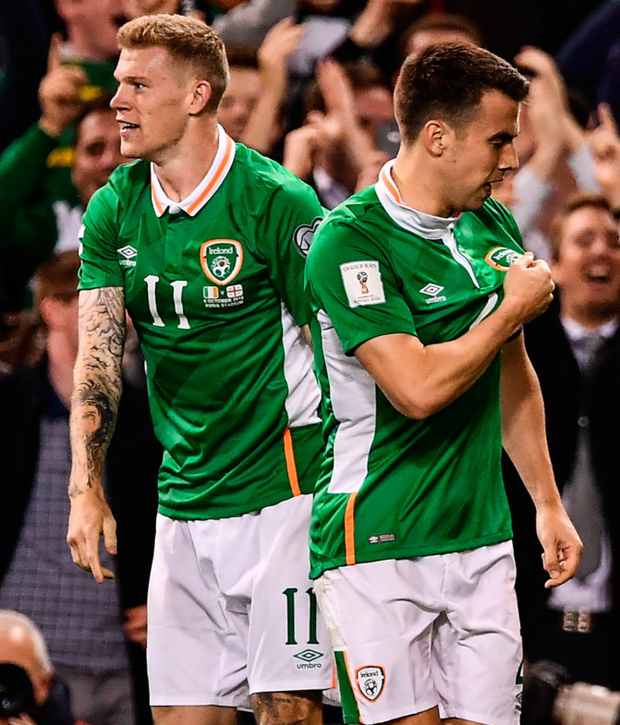 Republic of Ireland captain Séamus Coleman (r) celebrates scoring his goal with James McClean against Georgia last night