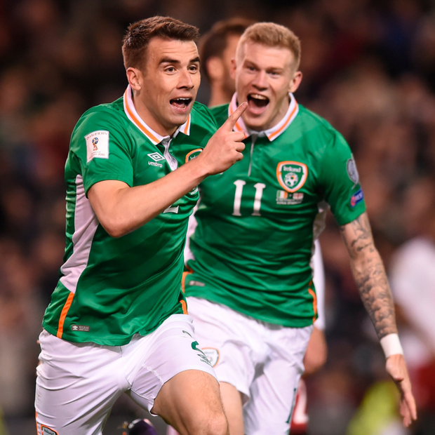 Seamus Coleman celebrates his goal against Georgia in Thursday night's World Cup qualifying Group D victory at the Aviva Stadium
