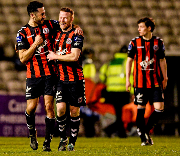 Bohemians' goalscorer Roberto Lopes, left, and Lorcan Fitzgerald, celebrate their win over Shamrock Rovers at Dalymount Park last night