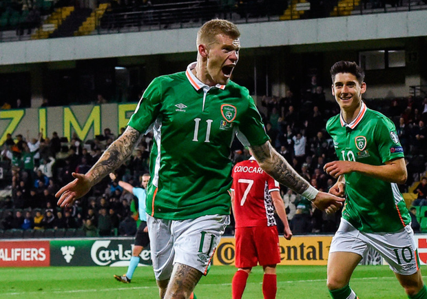 James McClean celebrates the first of his two goals in the win over Moldova in Chisinau last night.