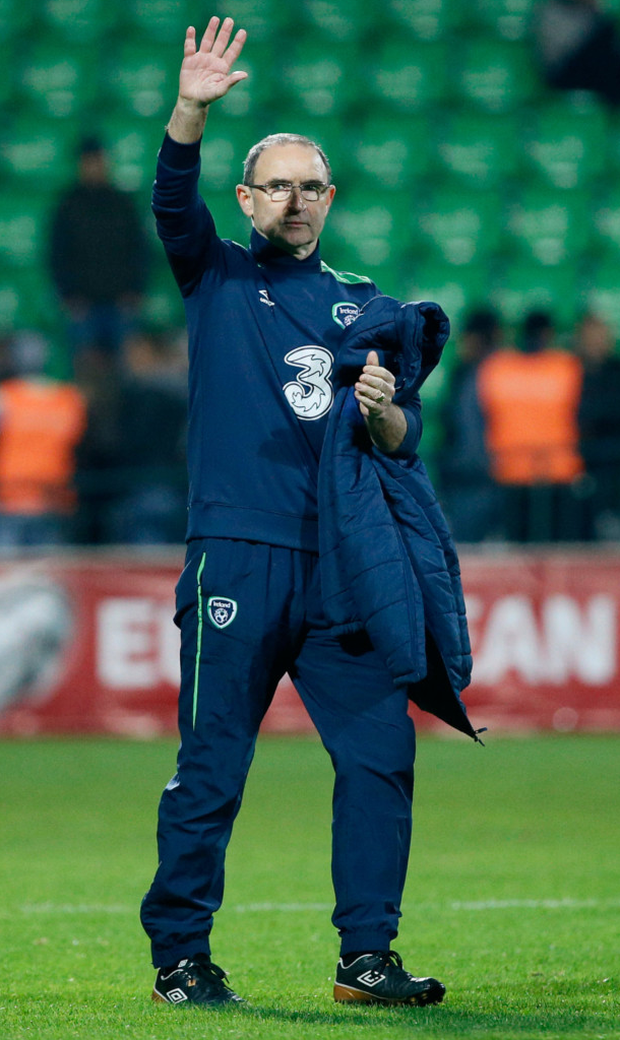 Republic of Ireland manager Martin O'Neill celebrates after victory over Moldova