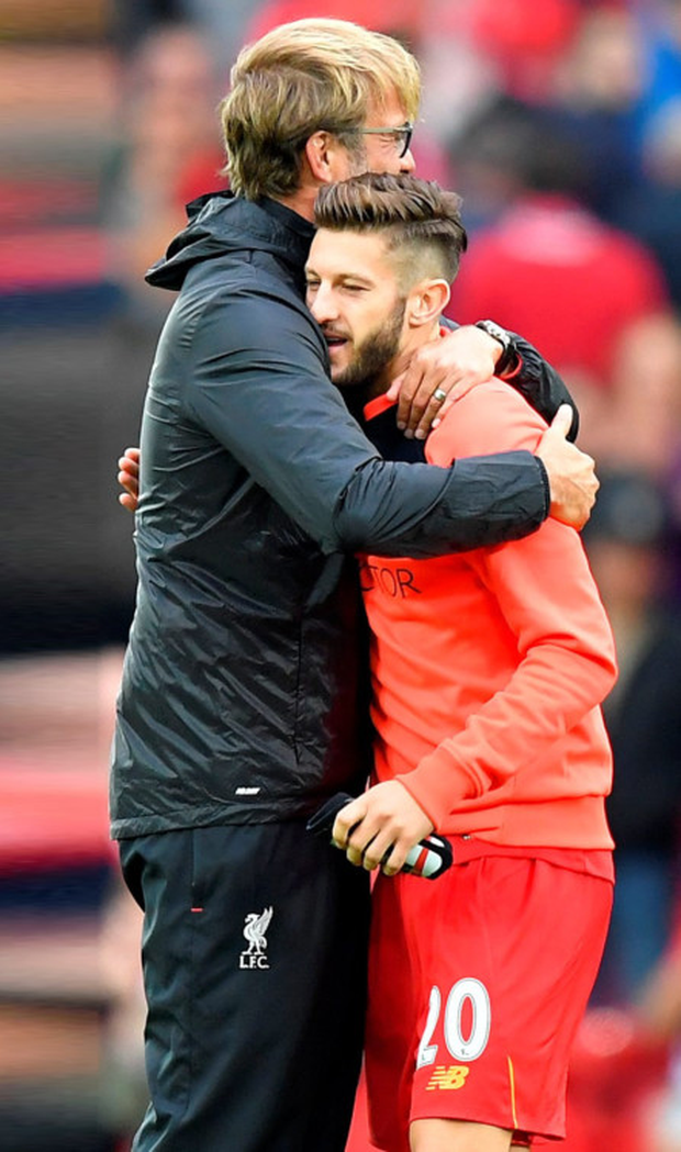 (l-r) Liverpool manager Jurgen Klopp may have to plan without Adam Lallana for next Monday's Premier League clash with Manchester United at Anfield.