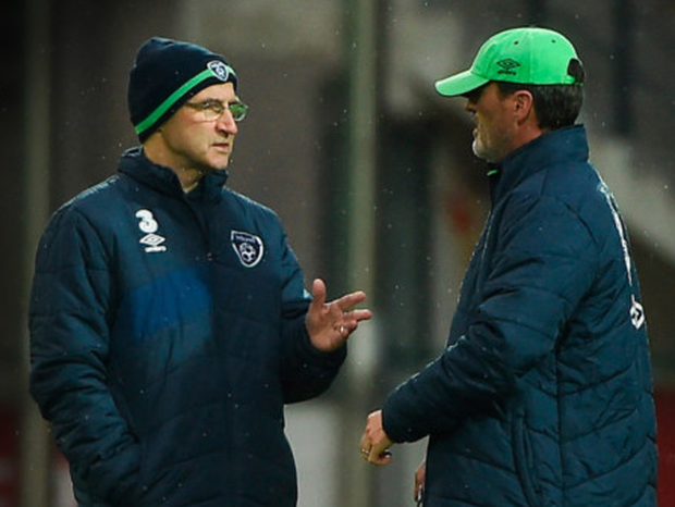Republic of Ireland manager Martin O'Neill with assistant manager Roy Keane during squad training at Zimbru Stadium in Chisinau, Moldova.