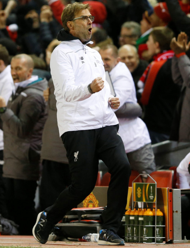 Liverpool manager Jurgen Klopp celebrates in the Europa League win over Manchester United last season.