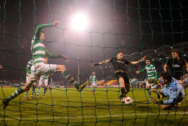 Brian Gartland of Dundalk scores his side's first goal during their Premier Division victory over Shamrock Rovers at Tallaght Stadium. Pic: David Maher/Sportsfile