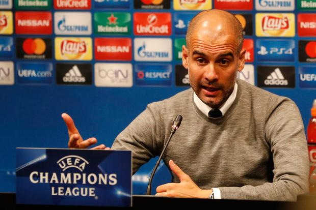 An animated Guardiola at the press conference ahead of tonight's Champions League clash with Barcelona. Pic: Reuters