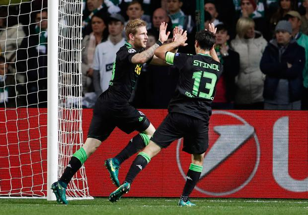 (l-r) Monchengladbach's Hahn and Stindl celebrate. Pic: Reuters