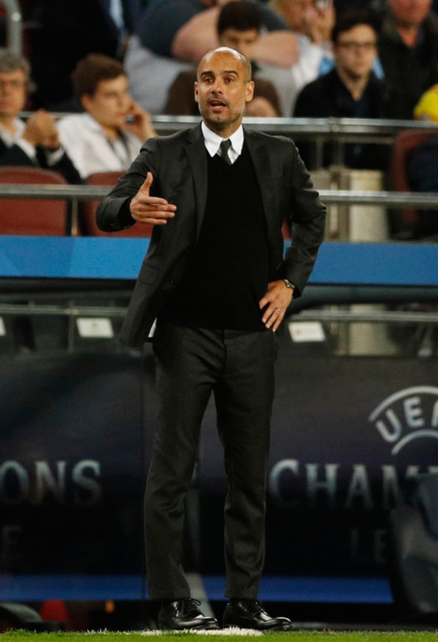 Manchester City manager Pep Guardiola is pictured during his side's 4-0 defeat to Barcelona in midweek