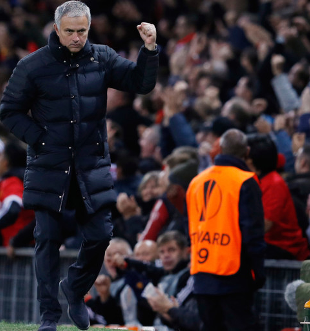 Mourinho celebrates Manchester United's win over Fenerbahce last Thursday