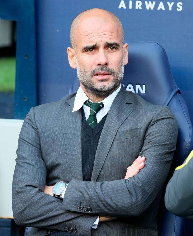 Manchester City manager Pep Guardiola watches his side's draw with Southampton Picture: PA