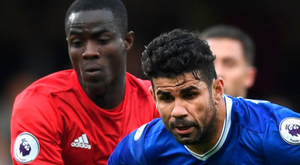 Manchester United defender Eric Bailly, pictured here in action against Chelsea's Diego Costa, suffered a knee injury during the defeat at Stamford Bridge