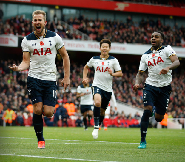 Harry Kane celebrates after scoring from the penalty spot Picture: Reuters