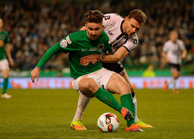 Seán Maguire of Cork City in action against Andy Boyle of Dundalk Picture: Sportsfile