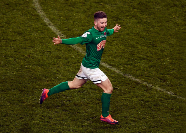 Cork City's Seán Maguire reacts after bagging the winner in the FAI Cup final Picture: Sportsfile