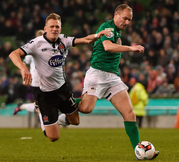 Cork City's Colin Healy (r) in action against Dundalk's Dean Shiels during last Sunday's FAI Cup final. Photo: Sportsfile