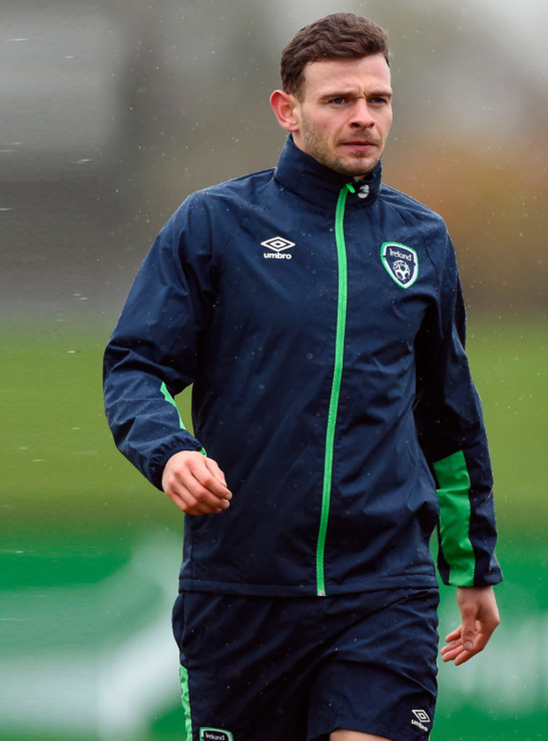 Dundalk star Andy Boyle is pictured during his first Ireland senior squad training session in Abbotstown ahead of Saturday's World Cup qualifier against Austria in Vienna. Pic: Sportsfile