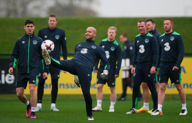 Ireland goalkeepr Darren Randolph is pictured during training in Abbotstown ahead of Saturday's World Cup qualifier against Austria in Vienna. Pic: PA