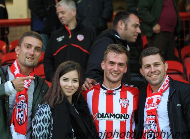 Austrian international Stefan Ilsanker (left) is pictured with Derry City's Austrian star Lukas Schubert (second from right) after a game at the Brandywell.