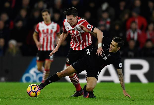 Southampton's Pierre-Emile Hojbjerg in action against Liverpool's Philippe Coutinho during Saturday's draw at St Mary's Stadium.
