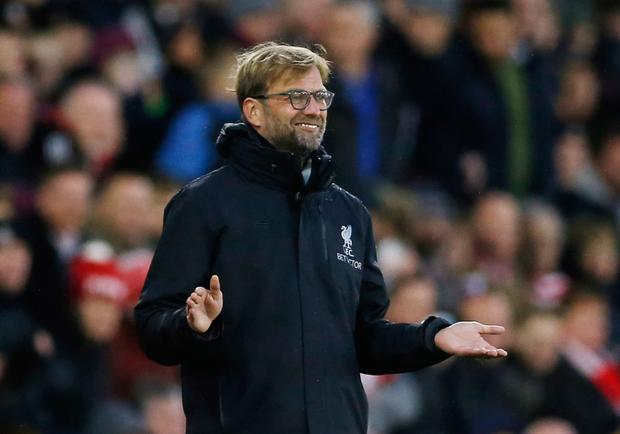 Liverpool manager gestures during the Premier League draw with Southampton last Saturday