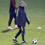 Pep Guardiola is pictured during a Manchester City training session ahead of tonight's Champions League clash with Celtic. Photo: Martin Rickett/PA Wire