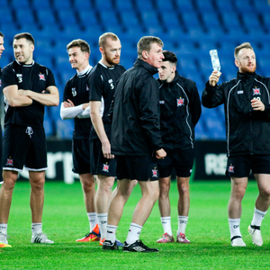 Dundalk players and boss Stephen Kenny are pictured in training at the Netanya Stadium in Israel ahead of tonight's Europa League clash with Maccabi Tel Aviv
