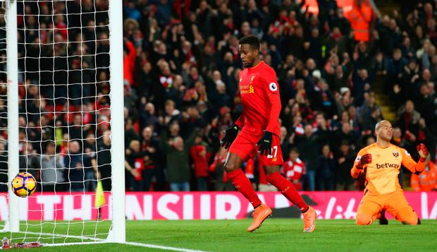 Liverpool's Divock Origi celebrates as he scores their second goal