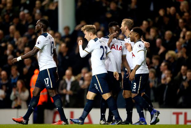 Tottenham players celebrate their goal