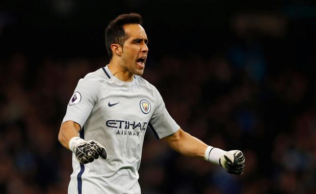 Carlos Bravo kept his fourth clean sheet for Manchester City on Wednesday. Pic: Reuters