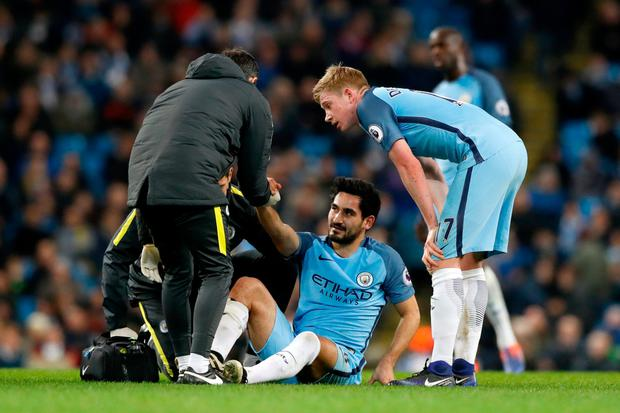 Ikay Gundogan is out for the forseeable future. Pic: PA
