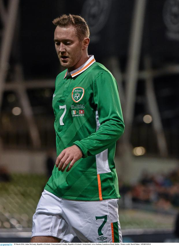 The Ireland jersey that was worn during the friendly with Switzerland containing the official 1916 commemorative logo. Pic: Sportsfile