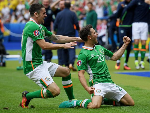 Wes Hoolahan celebrates his Euro 2016 goal against Sweden with Norwich team-mate Robbie Brady