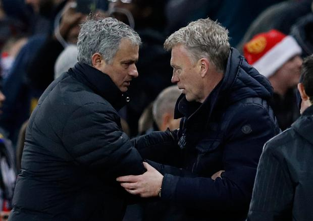Manchester United manager Jose Mourinho and Sunderland manager David Moyes shake hands when the sides met on St Stephen's Day. Pic: Reuters