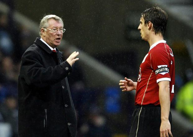 Manchester United boss Alex Ferguson with Gary Neville