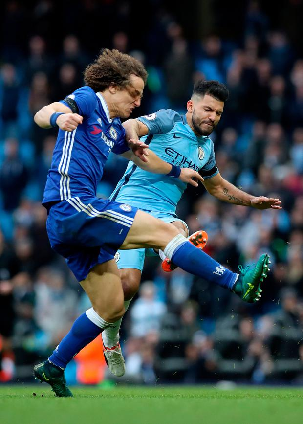 Manchester City striker Sergio Aguero returns from a four-game ban which he received for this tackle on David Luiz. Pic: PA